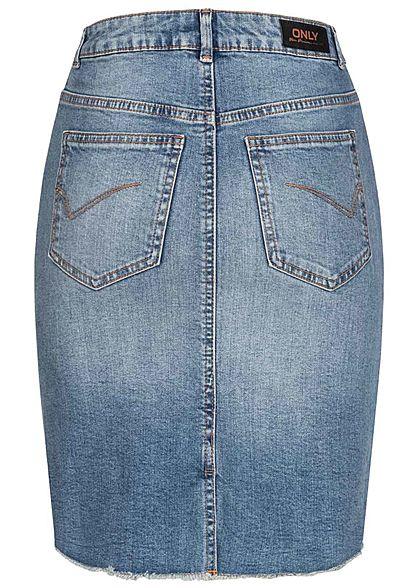 ONLY Damen NOOS Jeansrock mit Fransen 5-Pockets Schlitz hinten medium blau denim