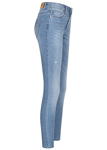 ONLY Damen NOOS Skinny Jeans Hose 5-Pockets Destroy Look hell medium blau denim