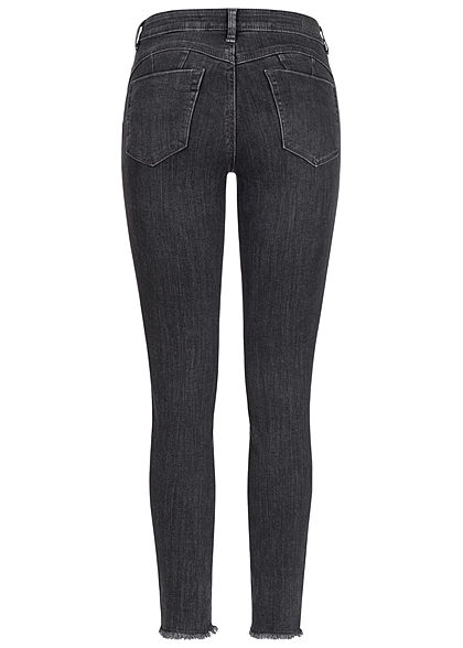 Tom Tailor Damen Extra Skinny Jeans Hose 5-Pockets Fransen used mid stone dunkel grau
