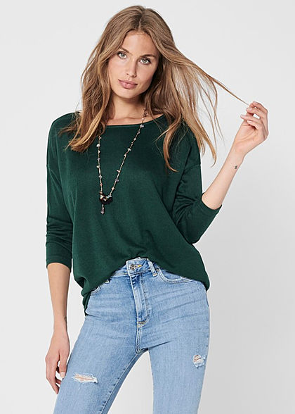 ONLY Damen NOOS 4/5 Arm Shirt Vokuhila gables grün