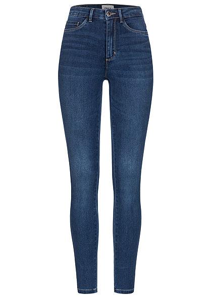 ONLY Damen NOOS Skinny Jeans Hose 5-Pockets High-Waist dunkel blau denim