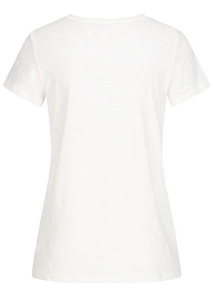 Tom Tailor Damen T-Shirt Streifen Muster mit Anker Stickerei gardenia weiss blau