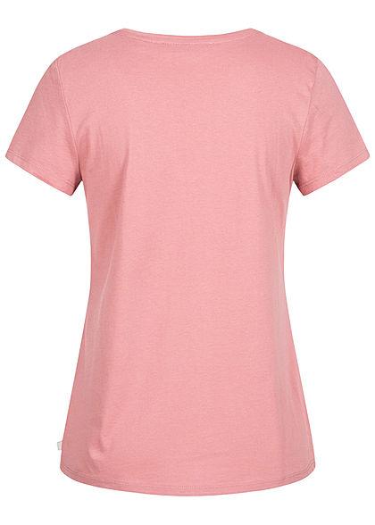Tom Tailor Damen V-Neck T-Shirt mit Möwen Stickerei cozy rose