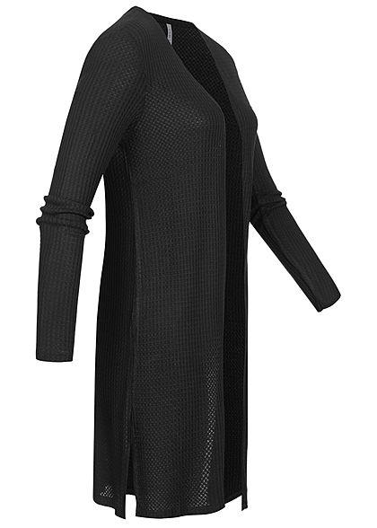 Hailys Damen Struktur Cardigan offener Schnitt seitliche Schlitze schwarz