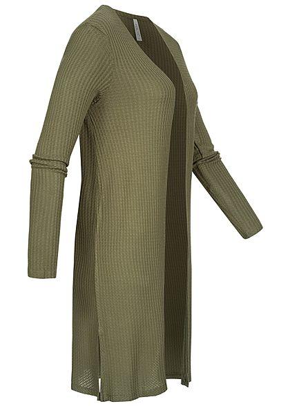 Hailys Damen Struktur Cardigan offener Schnitt seitliche Schlitze khaki grün