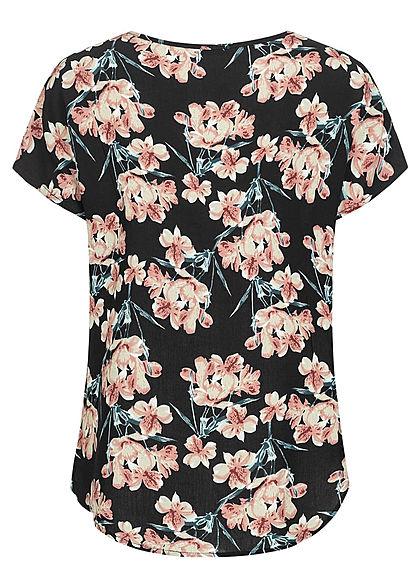 Hailys Damen Kurzarm Bluse mit Blumen Print Vokuhila schwarz