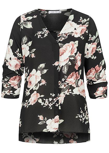 Hailys Damen 3/4 Arm Turn-Up V-Neck Krepp Bluse Rosen Print Vokuhila schwarz rosa