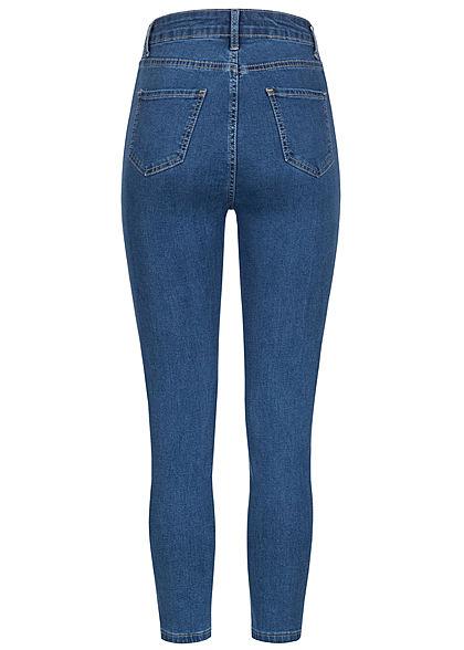 Hailys Damen High-Waist Skinny Zip Jeggings Jeans Hose 2-Pockets blau denim