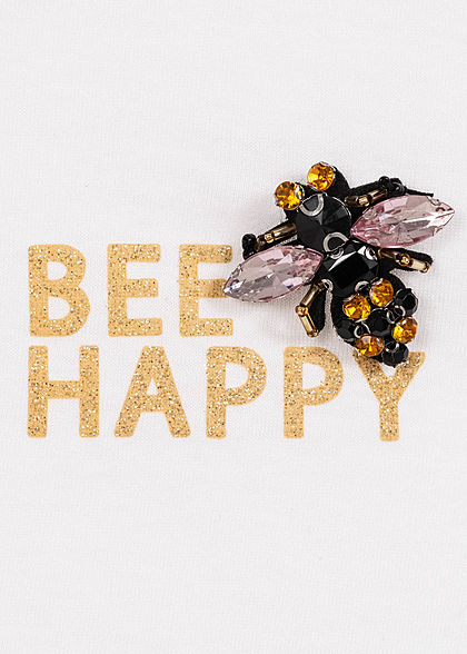 Hailys Damen T-Shirt Bee Happy Glitzer Print Schmuckapplikat. off weiss