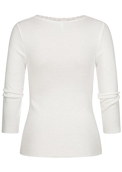 Hailys Damen 3/4 Arm Ribbed V-Neck Longsleeve mit Spitze off weiss