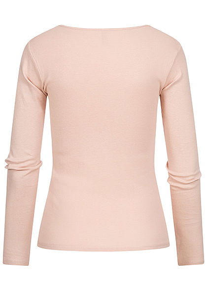 Hailys Damen Basic Longsleeve leichter Pullover rosa