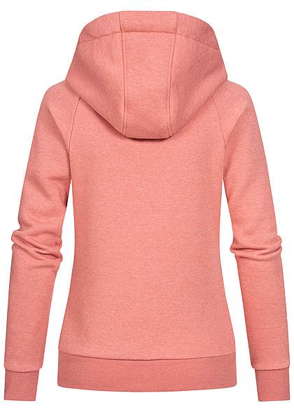 Hailys Damen Melange Sweat Zip-Hoodie Kapuze 2-Pockets Kontrastkordel rosa marl