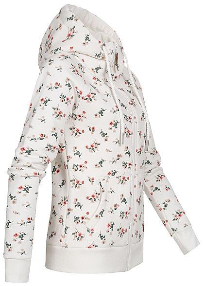 Hailys Damen Sweat Zip-Hoodie Kapuze 2-Pockets Blumen Print off weiss