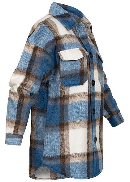 ONLY Damen Oversized Woll Jacke Karo Muster Knopfleiste 2 Brusttaschen mirage blau