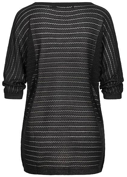 Vero Moda Damen NOOS 3/4 Arm Struktur Longform Longsleeve Pullover schwarz