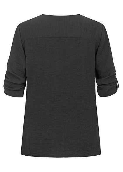 JDY by ONLY Damen NOOS 3/4 Arm Turn-Up V-Neck Bluse in Wickeloptik schwarz