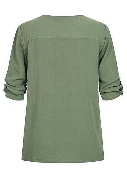 JDY by ONLY Damen NOOS 3/4 Arm Turn-Up V-Neck Bluse in Wickeloptik sea spray grün