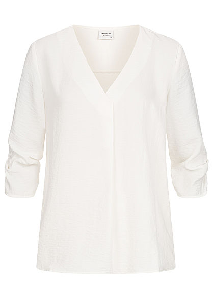 JDY by ONLY Damen NOOS 3/4 Arm Turn-Up V-Neck Bluse in Wickeloptik cloud d. weiss