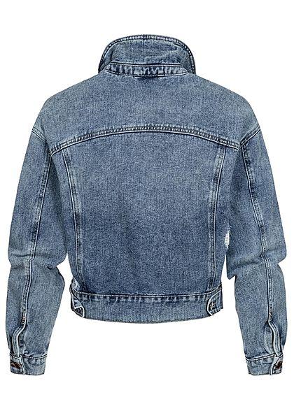 ONLY Damen kurze Jeans Jacke im Heavy-Destroy Look medium blau denim