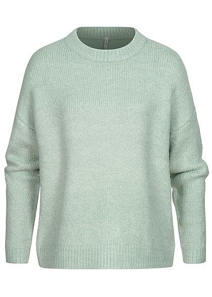 ONLY Damen Strickpullover Sweater Rippblenden am Saum jadeite grün melange