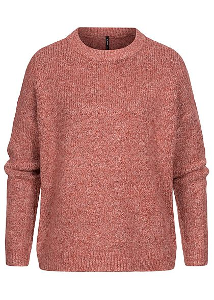 ONLY Damen Strickpullover Sweater Rippblenden am Saum ochre rot melange
