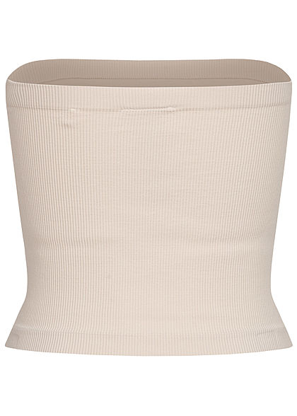 ONLY Damen Ribbed Bandeau Top pumice stone beige