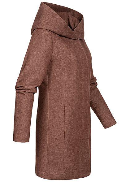 ONLY Damen NOOS Coatigan Jacke 2-Pockets Kapuze chocolate fondant braun
