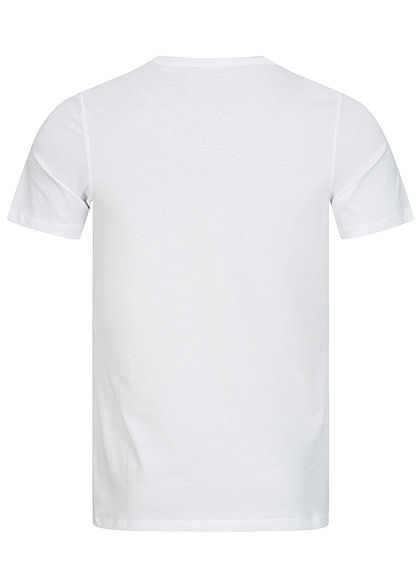 Jack and Jones Herren T-Shirt Flaggen Frontprint Slim Fit weiss