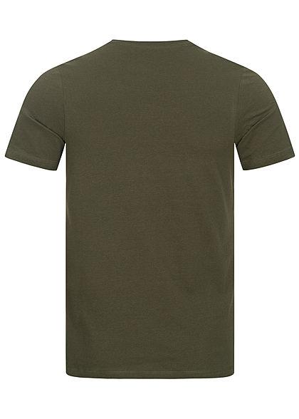 Jack and Jones Herren T-Shirt Brooklyn Frontprint Slim Fit forest night oliv grün