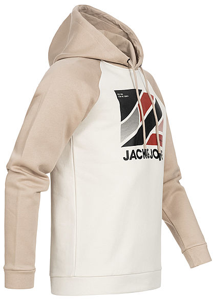 Jack and Jones Herren 2-Tone Hoodie mit Kapuze Logoprint silver birch beige