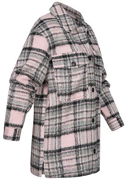 ONLY Damen Oversized Woll Jacke Karo Muster Knopfleiste 2 Brusttaschen lilac sachet
