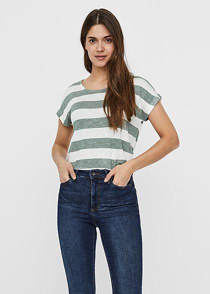 Vero Moda Damen NOOS Viskose Shirt mit Streifen Muster Vokuhila laurel wreath grün