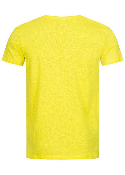 Sublevel Herren Surfer T-Shirt mit Frontprint zitronen gelb