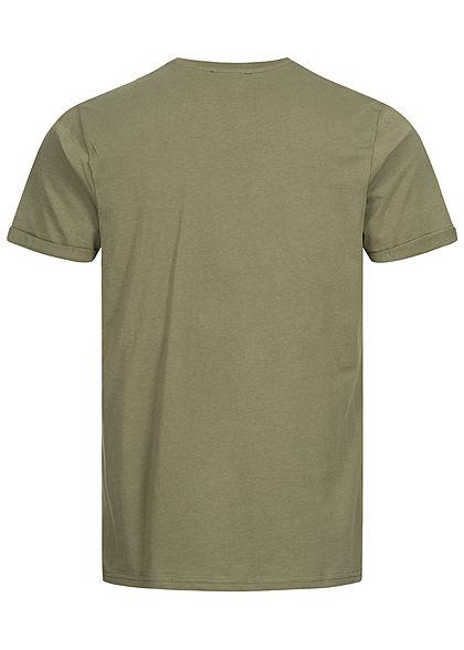 Sublevel Herren T-Shirt mit Brusttasche & Ärmelumschlag ivy oliv grün