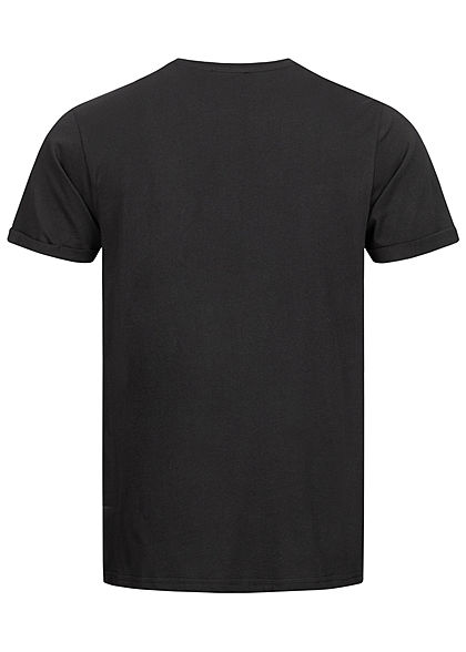 Sublevel Herren T-Shirt mit Brusttasche & Ärmelumschlag schwarz