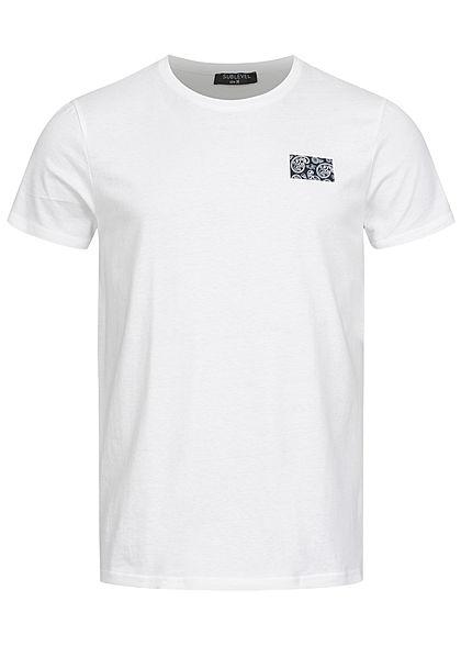 Sublevel Herren T-Shirt mit Paisley Pigment Print weiss