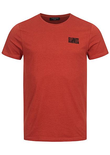 Sublevel Herren T-Shirt mit Paisley Pigment Print rusty ochre rot