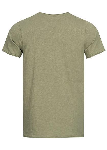 Sublevel Herren T-Shirt mit Brusttasche & offenen Kanten vintage oliv