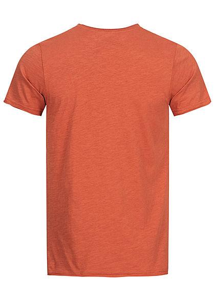 Sublevel Herren T-Shirt mit Brusttasche & offenen Kanten terracotta rot