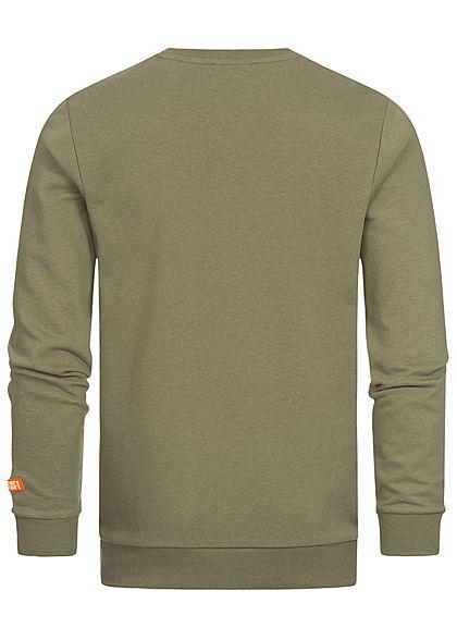 Sublevel Herren Sweater Pullover mit Brusttasche vintage oliv grün