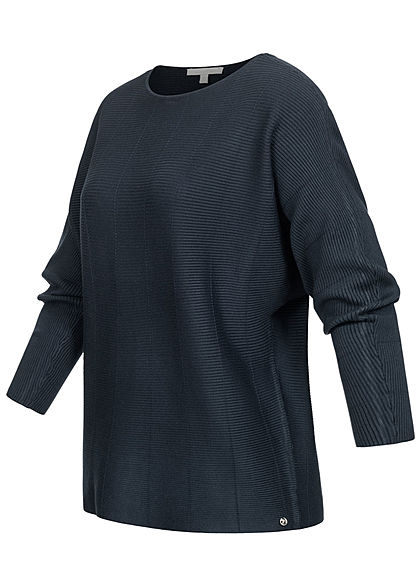 Tom Tailor Damen Ribbed Fledermausarm Pullover sky captain blau