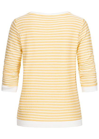 Tom Tailor Damen leichter 3/4 Arm Pullover Sweater mit Strukturstreifen gelb weiss