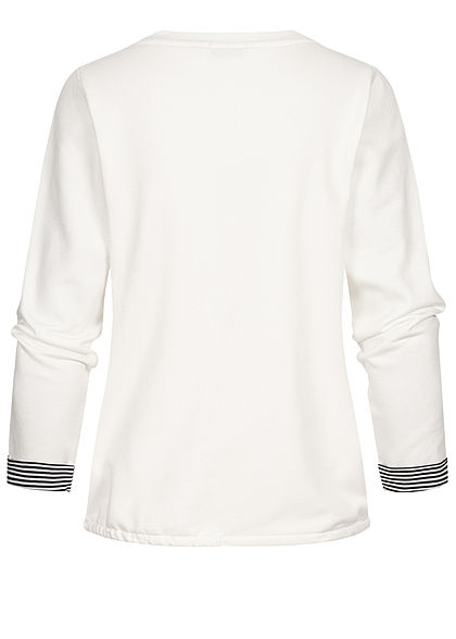 Tom Tailor Damen Pullover Sweatshirt Logoprint Tunnelzug am Saum whisper weiss