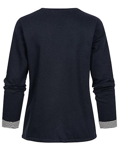 Tom Tailor Damen Pullover Sweatshirt Logoprint Tunnelzug am Saum sky captain blau