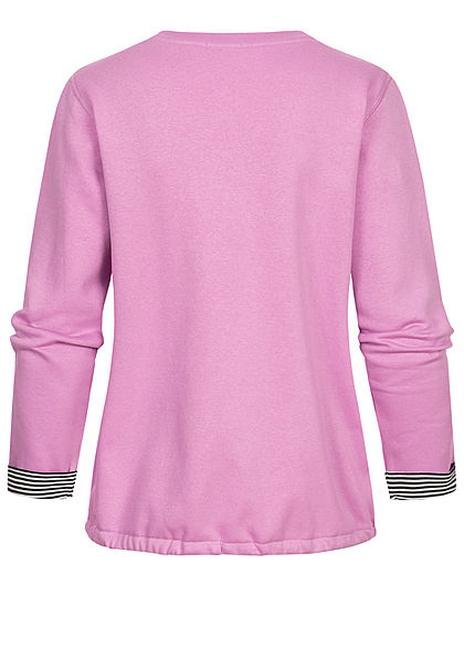 Tom Tailor Damen Pullover Sweatshirt Logoprint Tunnelzug am Saum heather lilac lila