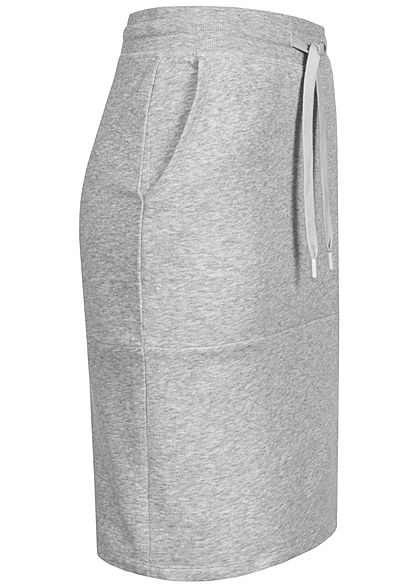 Tom Tailor Damen Midi Sweat Rock 2-Pockets Tunnelzug comfort grau melange