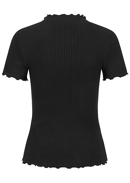 ONLY Damen NOOS High-Neck Ribbed Frill T-Shirt schwarz
