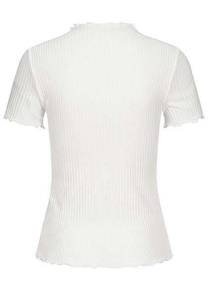 ONLY Damen NOOS High-Neck Ribbed Frill T-Shirt egret