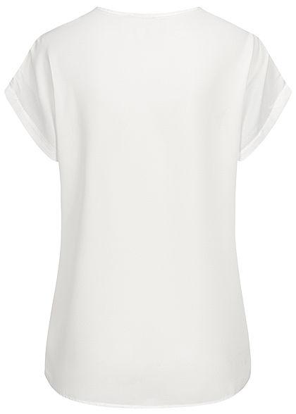 Styleboom Fashion Damen V-Neck Chiffon Blusen Shirt Spitzeneinsatz weiss