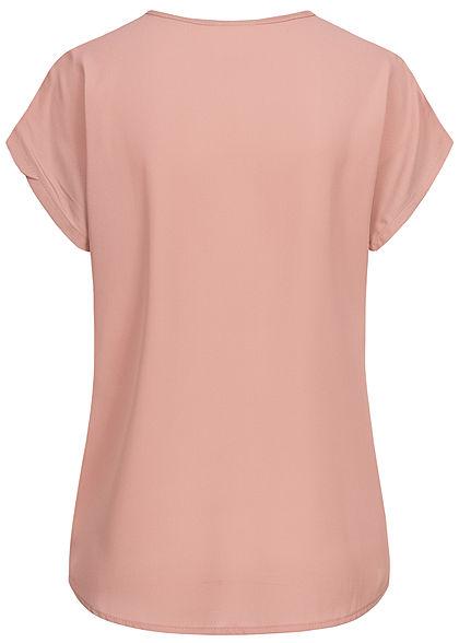 Styleboom Fashion Damen V-Neck Chiffon Blusen Shirt Spitzeneinsatz old rosa